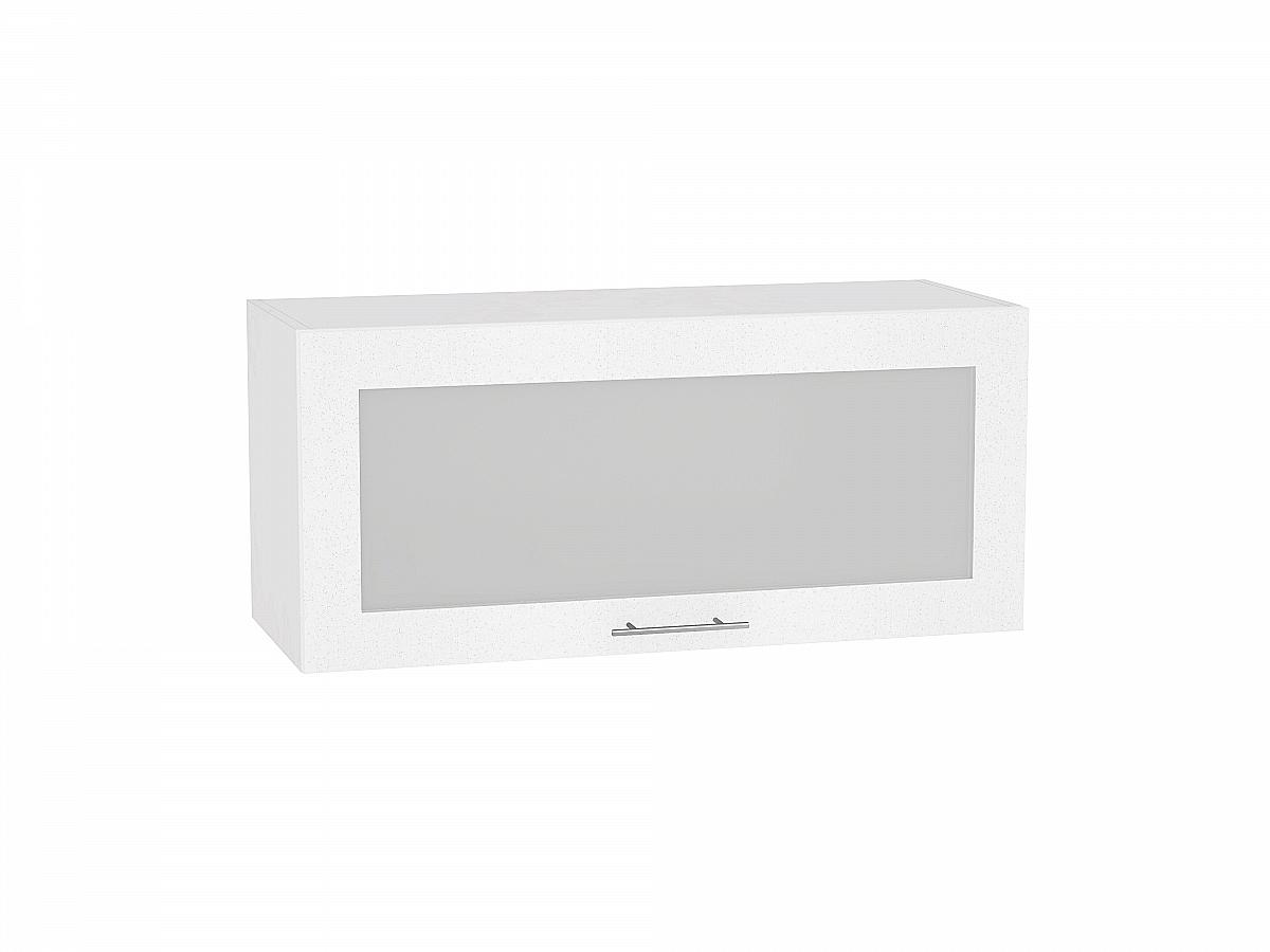 Шкаф верхний Валерия ВГ810 со стеклом (белый металлик)