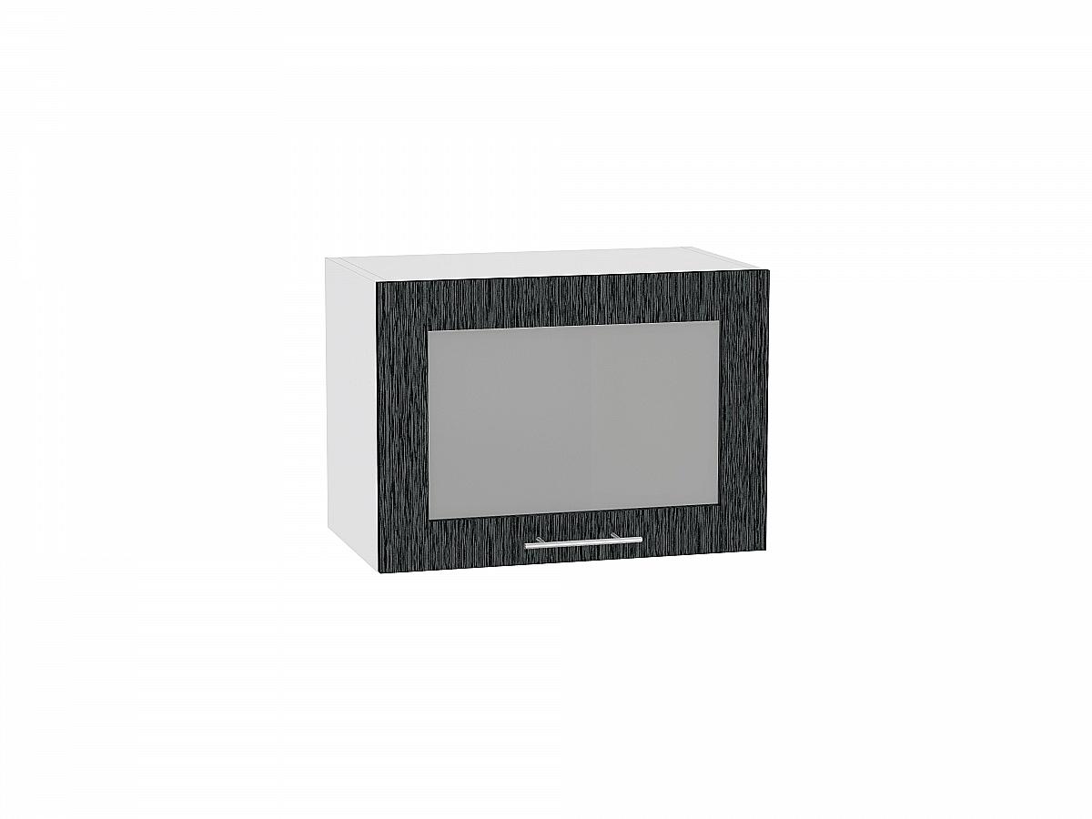 Шкаф верхний Валерия ВГ510 со стеклом (чёрный металлик дождь)