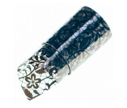 Фольга для литья Hanami Цветочный орнамент, чёрный 1м.