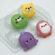 Пластиковая форма для мыла и шоколада Зверюшки мультяшные МИНИ