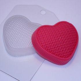 Пластиковая форма для мыла и шоколада Сердце вязаное