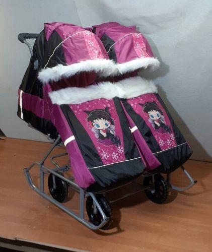Санки-коляска для двойни (розово-черный)