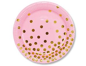 Тарелки большие розовые с золотым рисунком