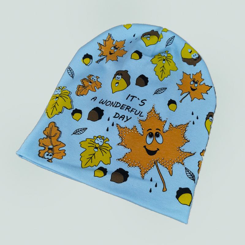 вд1635-10 Шапка трикотажная двойная удлиненка Листик голубая