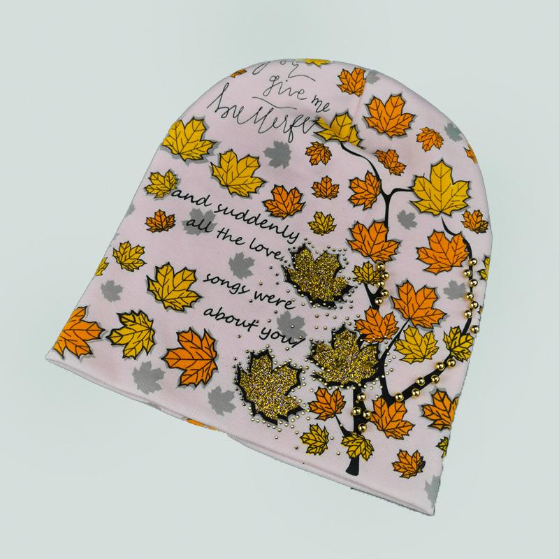 вд1636-36 Шапка трикотажная двойная удлиненка Осень нежно-розовая