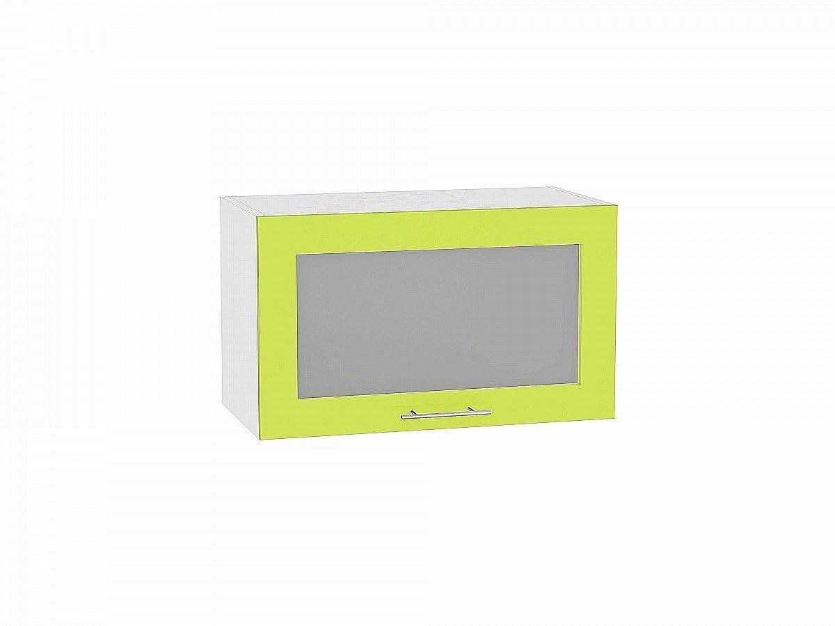 Шкаф верхний Валерия ВГ610 со стеклом (лайм глянец)