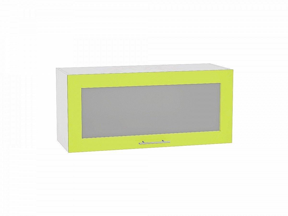 Шкаф верхний Валерия ВГ810 со стеклом (лайм глянец)