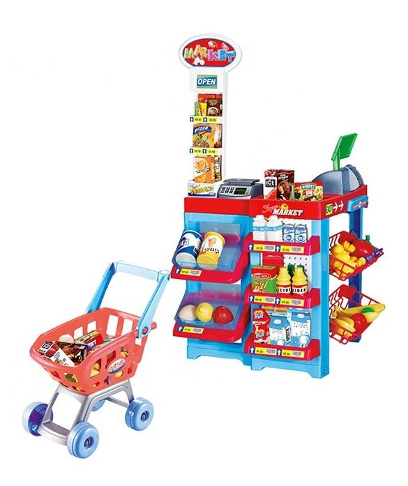 Игровой набор детский магазин супермаркет с кассой и тележкой с продуктами