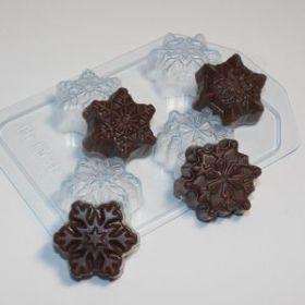 """форма пластиковая для мыла и шоколада """"Снежинки мини"""", арт. 1379"""