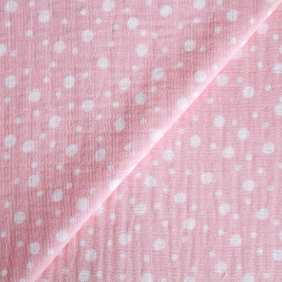 Муслин двухслойный - Белый горошек на розовом 50х45
