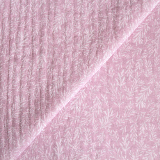 Муслин двухслойный Винтаж веточки на розовом 50х45
