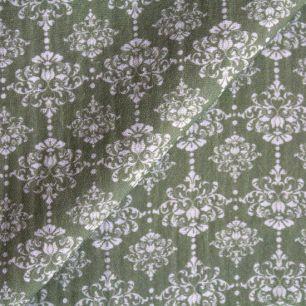 Муслин двухслойный Винтажный узор на зеленом 50х45