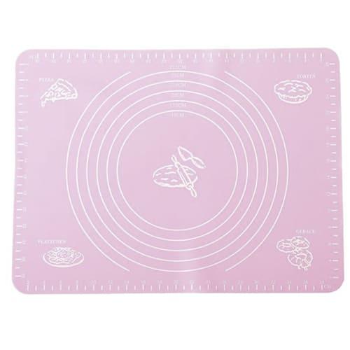 Силиконовый коврик для раскатывания теста, 65х45 см, цвет-розовый.