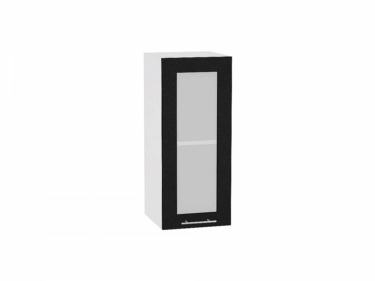 Шкаф верхний Валерия В309 со стеклом (чёрный металлик)