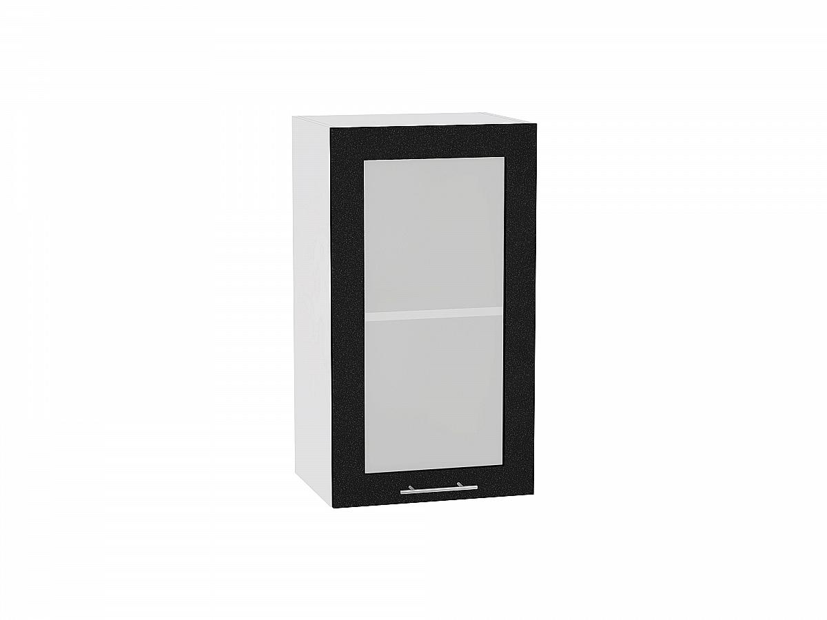 Шкаф верхний Валерия В409 со стеклом (чёрный металлик)