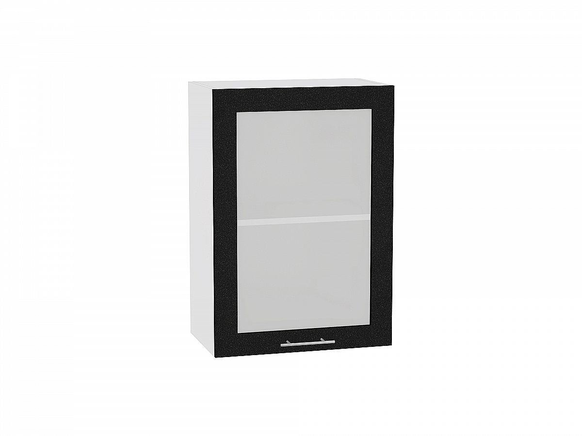 Шкаф верхний Валерия В509 со стеклом (чёрный металлик)