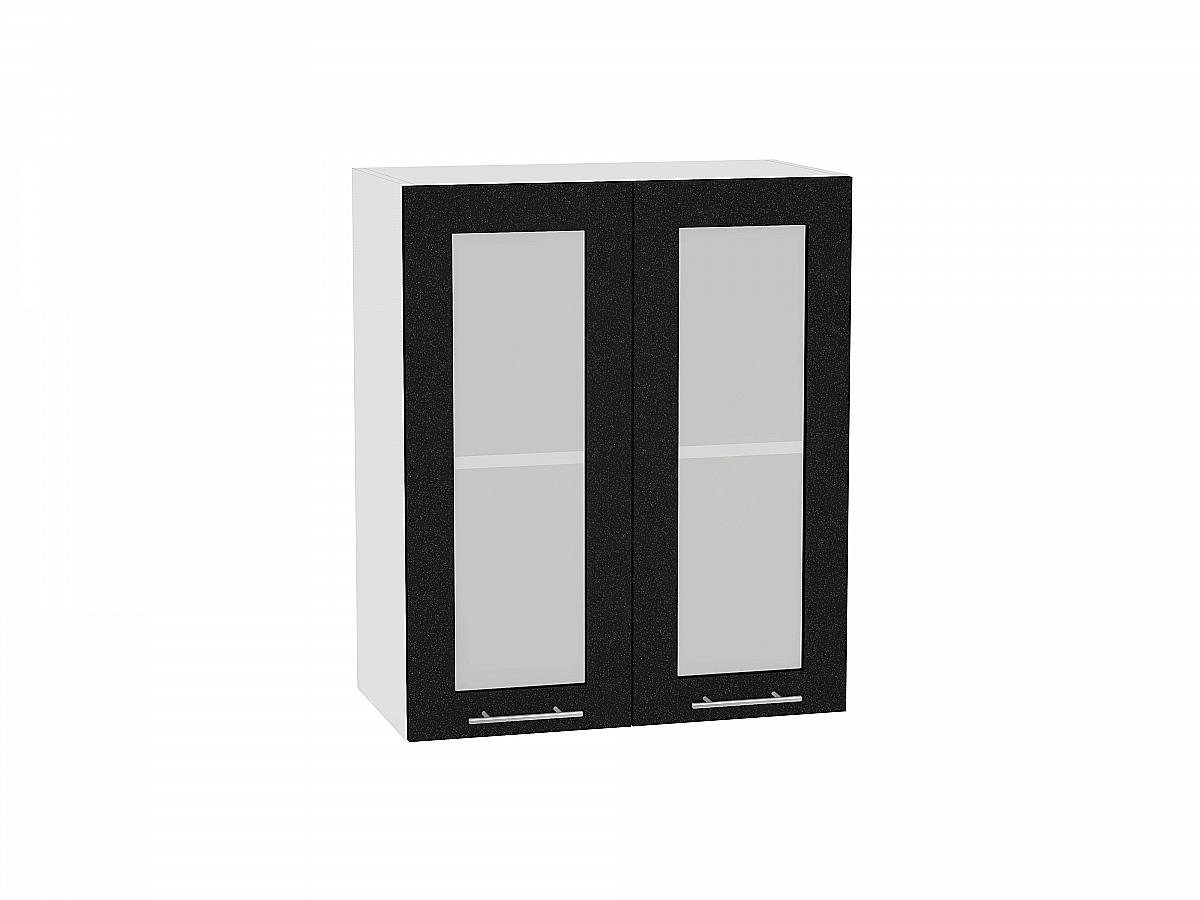 Шкаф верхний Валерия В609 со стеклом (чёрный металлик)