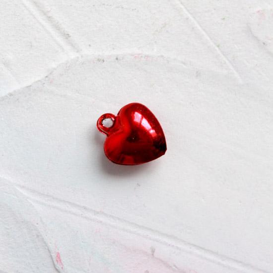 Бубенчик-сердце 1 см. глянцевое красное
