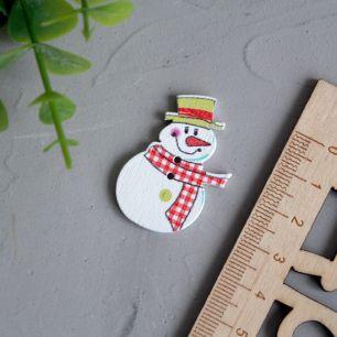 Деревянное украшение - Снеговик в шарфе 3,5 см.