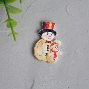 Деревянное украшение - Снеговик со снеговичком 3,5 см.