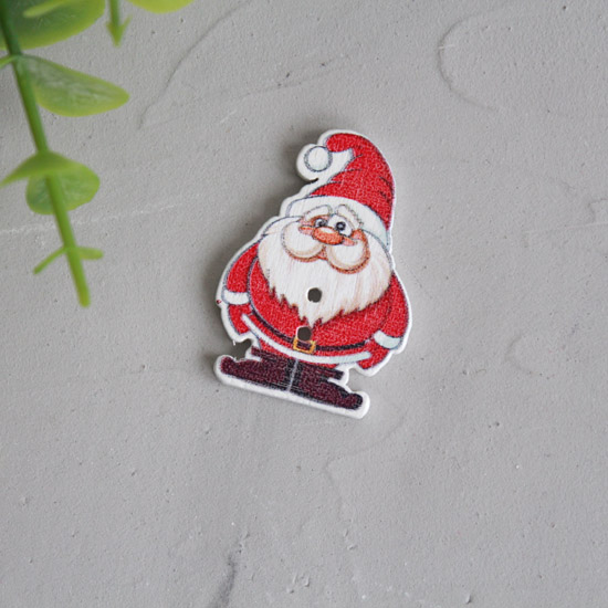 Деревянное украшение - Санта 3,5 см.