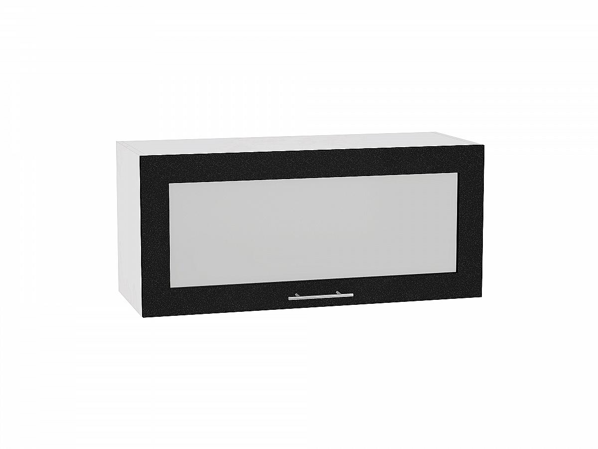 Шкаф верхний Валерия ВГ810 со стеклом (чёрный металлик)