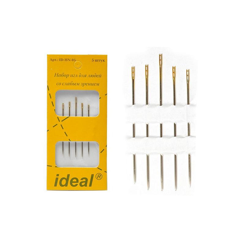 фото Иглы швейные IDEAL Набор для слабовидящих с двойным ушком уп.5 игл ID-HN-05