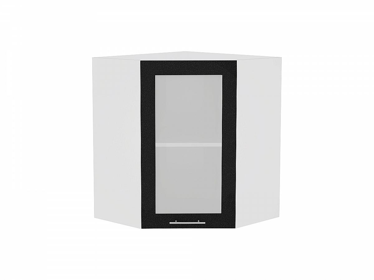 Шкаф верхний угловой Валерия ВУ590 со стеклом (чёрный металлик)