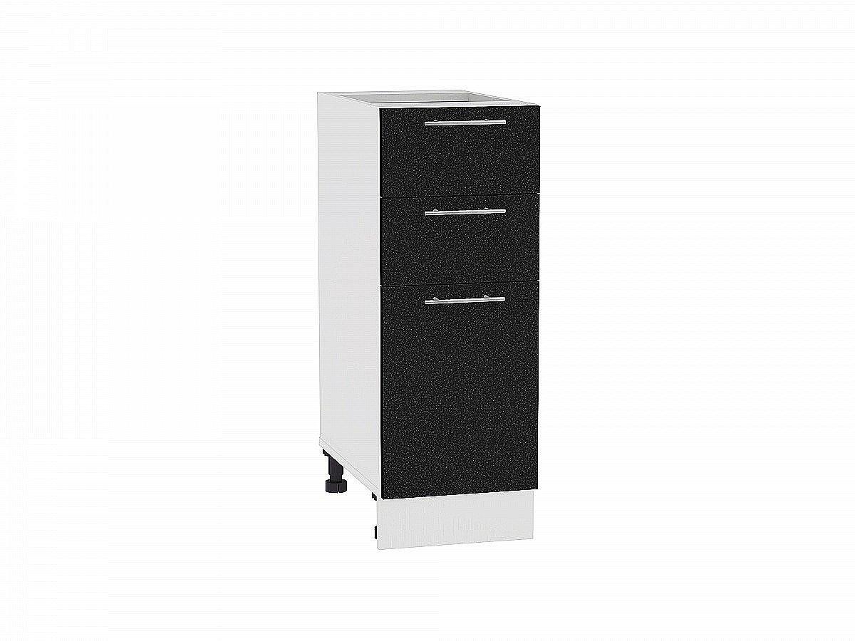 Шкаф нижний Валерия Н303 (чёрный металлик)