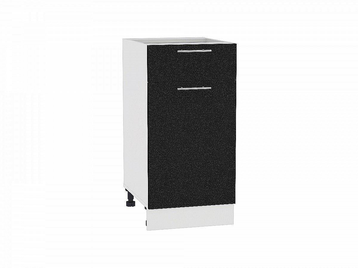 Шкаф нижний Валерия Н401 (чёрный металлик)