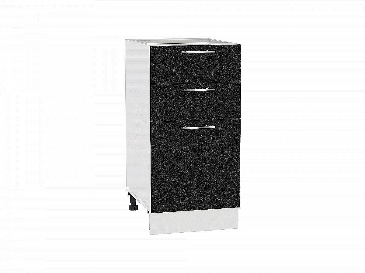 Шкаф нижний Валерия Н403 (чёрный металлик)