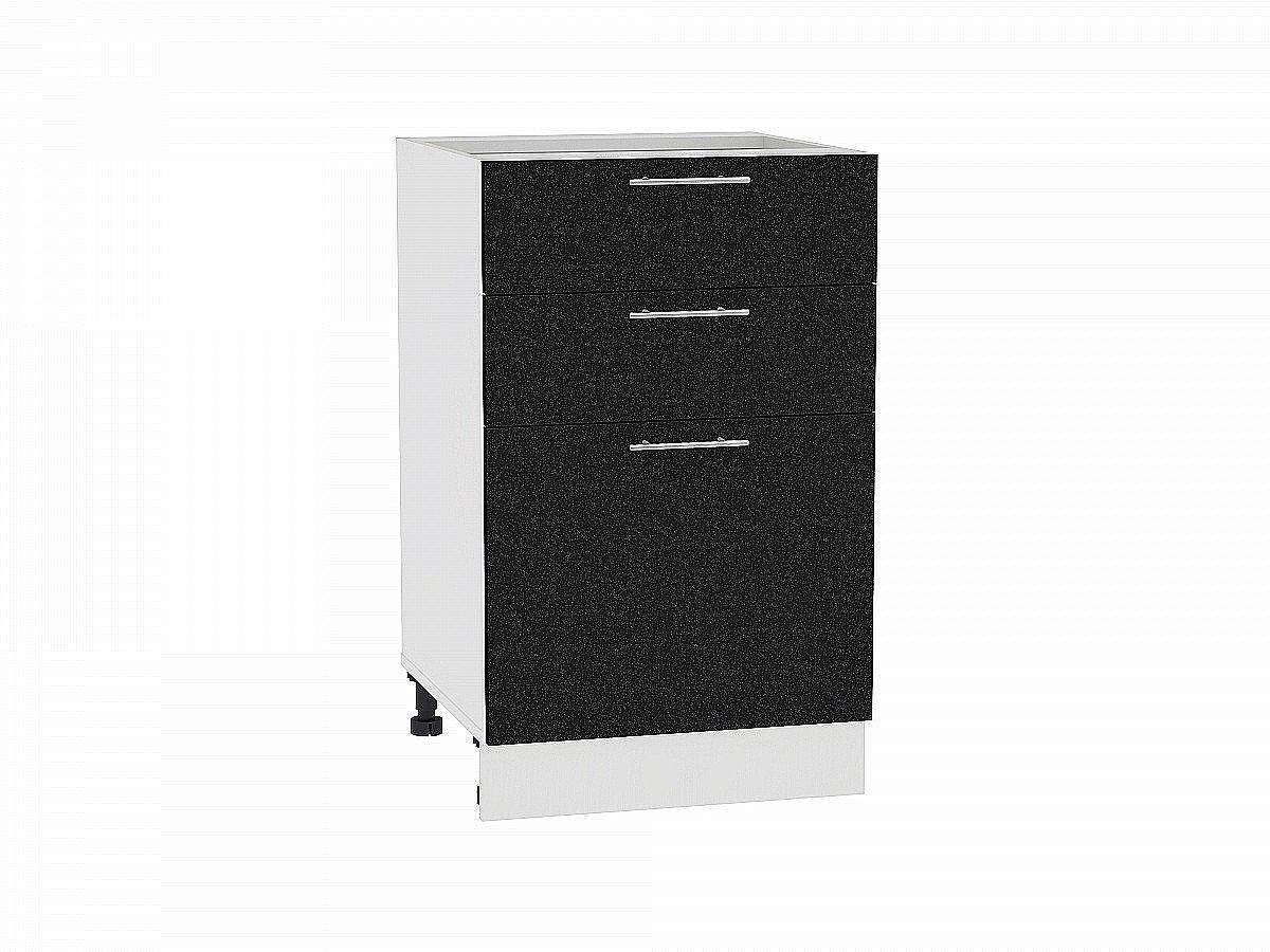 Шкаф нижний Валерия Н503 (чёрный металлик)