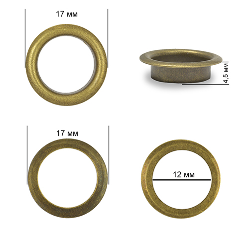 Люверсы сталь New Star №26 17 мм разные цвета 10 комплектов в упаковке (TBY.2092)