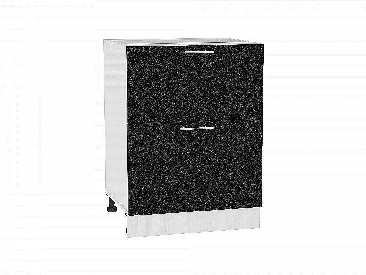 Шкаф нижний Валерия Н602 (чёрный металлик)