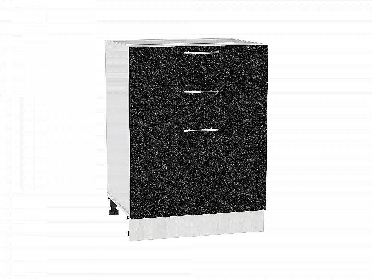 Шкаф нижний Валерия Н603 (чёрный металлик)