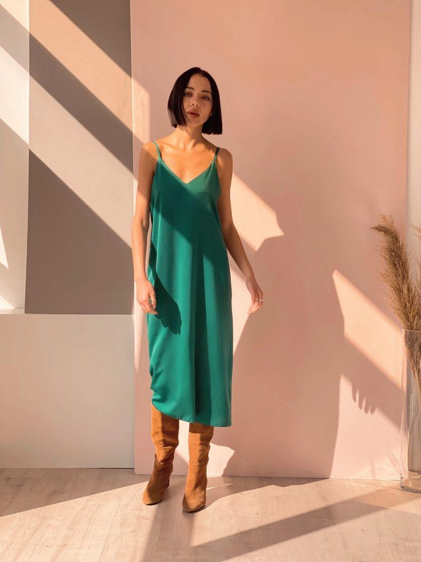4506 Платье-комбинация зелёное