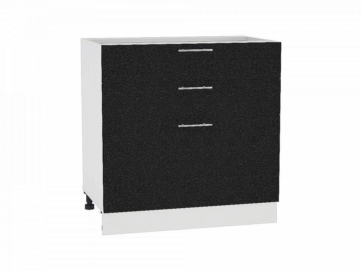 Шкаф нижний Валерия Н803 (чёрный металлик)