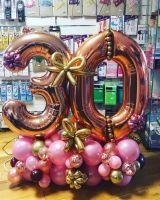 Композиция из шаров розовое золото и фиолетовый, 2 цифры