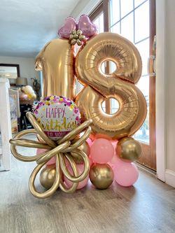 Подарочная напольная композиция из шаров, с 2 цифрами