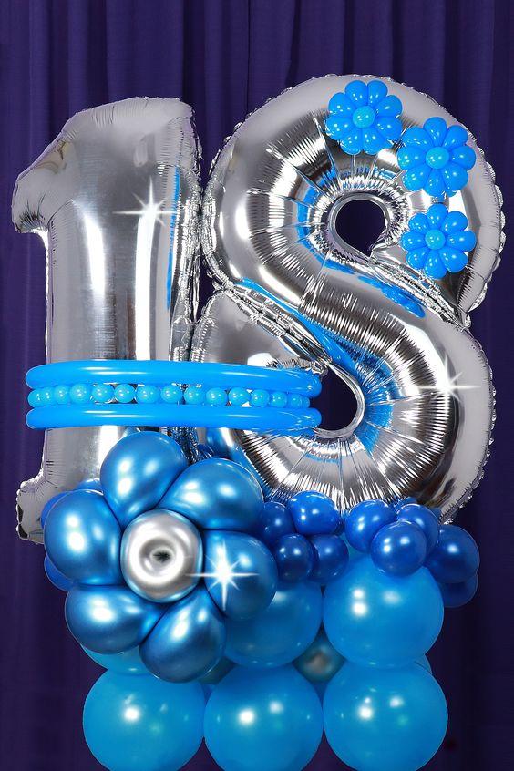 Композиция из шаров  с двумя цифрами , голубой и синий