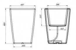 Схема кашпо пластиковое Flox P680 белый гранит