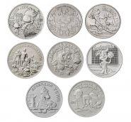 Полный набор 8шт монет 25 рублей Мультипликация 2017-2021. UNC