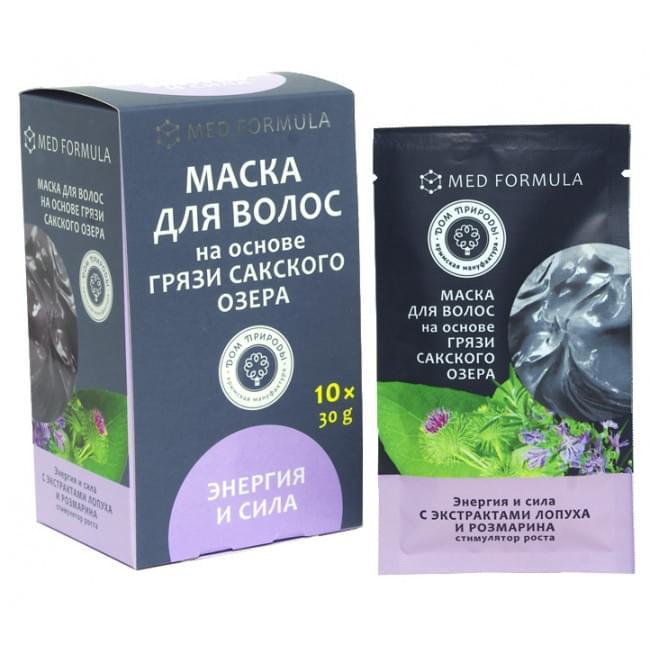 Маска для волос на основе грязи Сакского Озера Энергия и Сила Мед Формула Дом Природы 30 гр 1 саше-пакет
