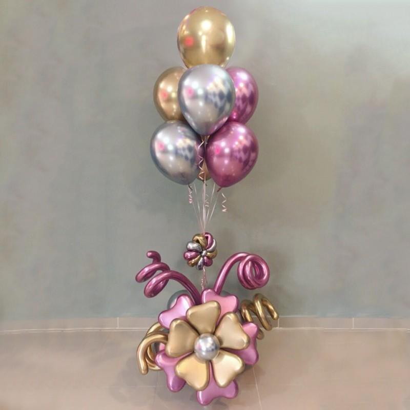 Фонтан из шаров хром с цветочным основанием