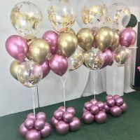 Фонтан из шаров золото хром и прозрачные с конфетти