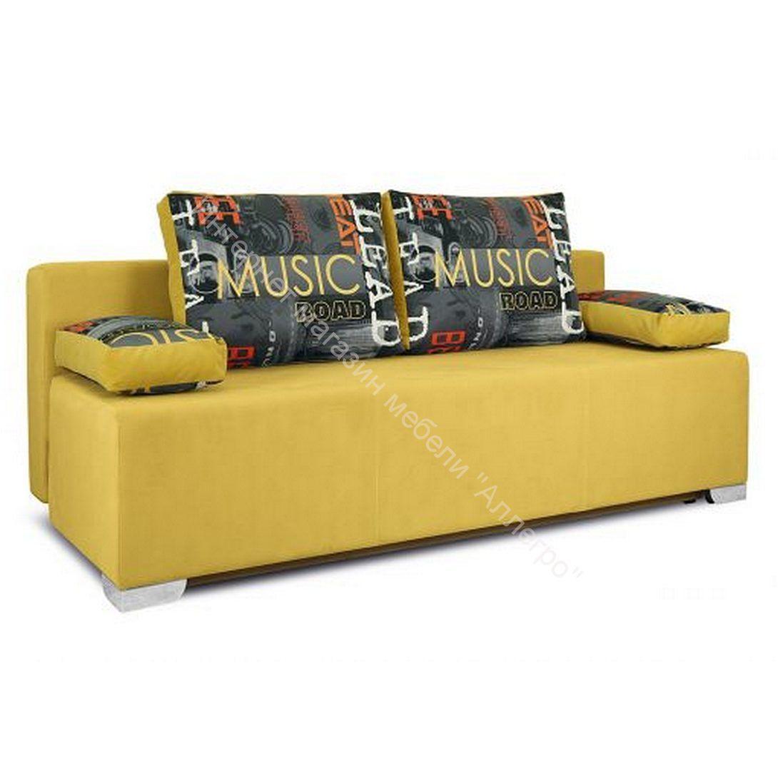 Диван «Дерби» (Maserati 11 (велюр) желтый, подушка Urban (велюр) Music)