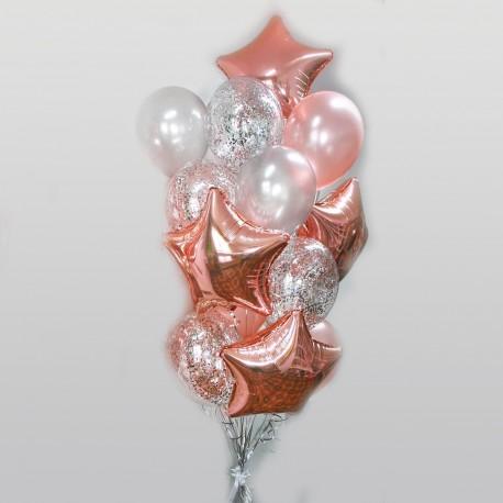Фонтан из шаров розовое золото с серебром