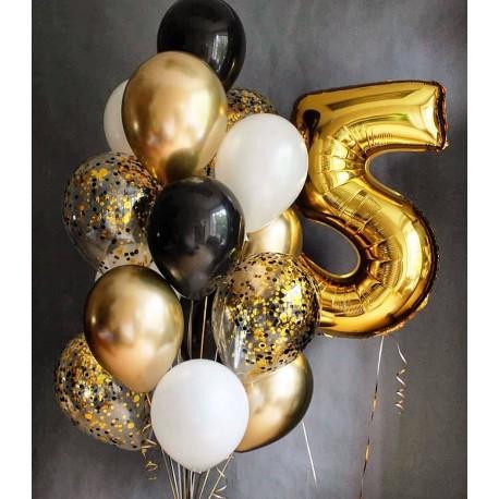 Фонтан из шаров в черно-золотом стиле с цифрой