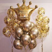 Фонтаны из шаров с золотой короной
