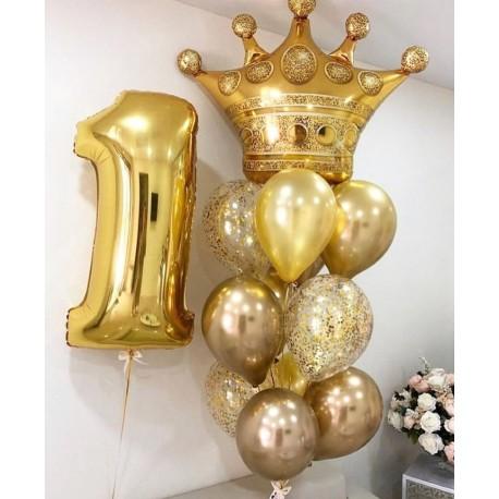 Композиция из фонтанов шаров с золотой короной и цифрой